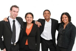 group of happy workers on employment screening blog